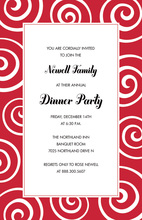 Whimsical Swirls Holiday Red Invitations