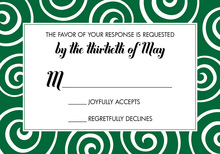 Elegant Whimsical Swirls Green RSVP Cards