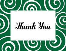Whimsical Classic Swirls Green Thank You Cards
