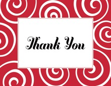 Whimsical Modern Swirls Red Thank You Cards