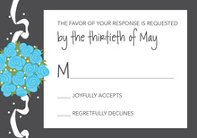Catch The Blue Bouquet Charcoal RSVP Cards