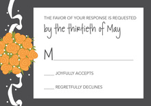 Catch The Orange Bouquet Charcoal RSVP Cards