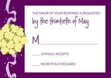 Catch The Yellow Bouquet Purple RSVP Cards