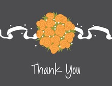 Catch Orange Bouquet Charcoal Thank You Cards