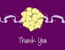 Catch Yellow Bouquet Purple Thank You Cards