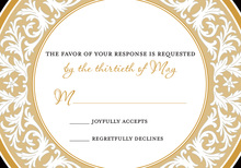 Gold Decorative Plate RSVP Cards