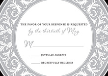 Grey Decorative Plate RSVP Cards