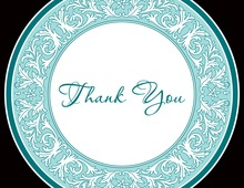 Teal Decorative Plate Thank You Cards