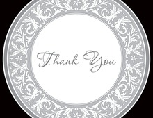 Grey Decorative Plate Thank You Cards