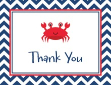 Navy Chevrons Red Crab Thank You Cards