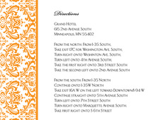 Orange Trimmed Damask Enclosure Cards