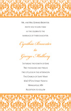 Orange Trimmed Stylish Damask Invitations
