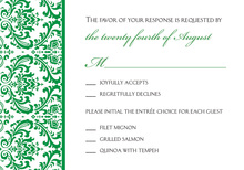 Green Trimmed Damask RSVP Cards