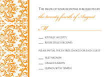 Orange Trimmed Damask RSVP Cards