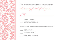 Pink Trimmed Damask RSVP Cards
