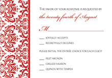 Red Trimmed Damask RSVP Cards