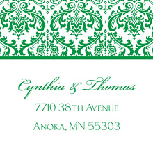 Green Trimmed Damask Stickers
