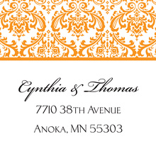 Orange Trimmed Damask Stickers