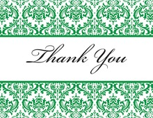 Green Trimmed Damask Thank You Cards