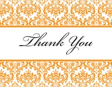 Orange Trimmed Damask Thank You Cards