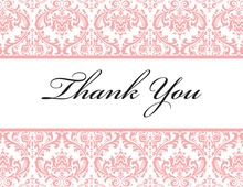 Pink Trimmed Damask Thank You Cards