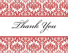 Red Trimmed Damask Thank You Cards