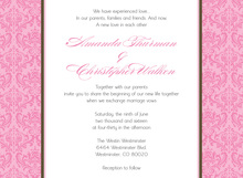Pink Damask Flanks Trendy Invitations