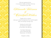 Monochromatic Yellow Damask Flanks Stylish Invitations