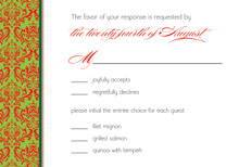 Christmas Damask RSVP Cards