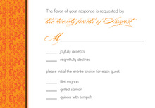 Orange Damask Trimmed Pattern RSVP Cards