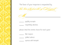 Monochromatic Yellow Damask RSVP Cards