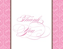 Pink Damask Flanks Thank You Cards