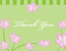Whimsy Pink Green Plumeria Thank You Cards