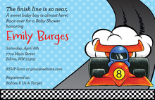Speedy Little Race Car Boy Birthday Invitations