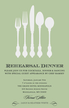 Green Modern Silverware Formal Dinner Invitations