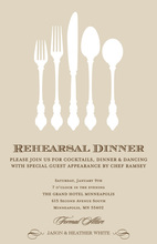 Khaki Modern Formal Silverware Dinner Invitations