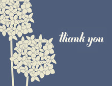 Elegant Blue Hydrangea Thank You Cards