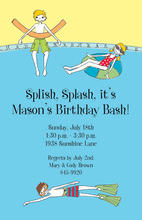 Splash Pool Little Kids Birthday Invitations