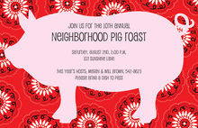 Pig Border Red Bandana Invitations