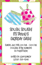 Cute Kids Suits Pool Invitations
