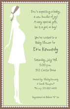 Silhouette Expecting Mom Green Invitations