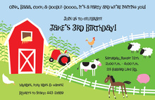 Classy Farm Scene Kids Birthday Invitations