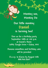 Hanging Cute Monkey Invitations