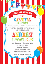 Carnival Balloons Birthday Invitations