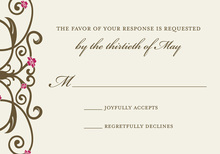 Brown Floral Filigree RSVP Cards