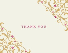 Gold Floral Filigree Thank You Cards