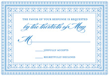 Layered Blue Vintage Borders RSVP Cards