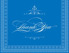 Layered Blue Vintage Borders Thank You Cards