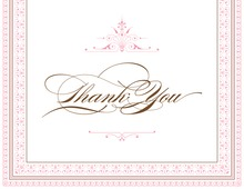 Layered Pink Vintage Borders Thank You Cards