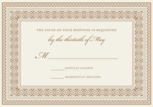 Brown Greek Key Frame RSVP Cards